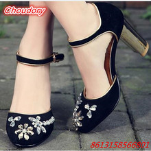 Concise Bling Crystal Flower Women Pumps Round Toe Ankle Buckle Female Sandals Sweat High Heels Female Casual Shoes Square Heels