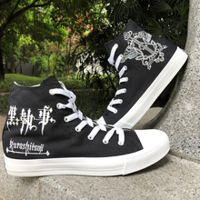 Wen Hand Painted Design Black Butler Sebastian Michaelis High Top Men  Skateboard c509ae7ced2c