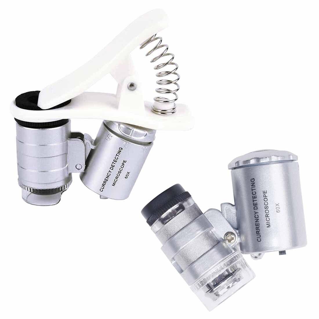 Werkzeuge Optische Instrumente 60x Lupe Universal Handy Mini Tragbare Clip Led Mikroskop Lupe Lupe Uv Währung Detektor Taschenlampe Blut NäHren Und Geist Einstellen
