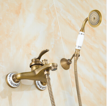 Free shipping new arrival Antique Brass Bath & Shower Faucet Set+bath tub Faucet Mixer+single handle Shower Wall Mounted sognare new wall mounted bathroom bath shower faucet with handheld shower head chrome finish shower faucet set mixer tap d5205