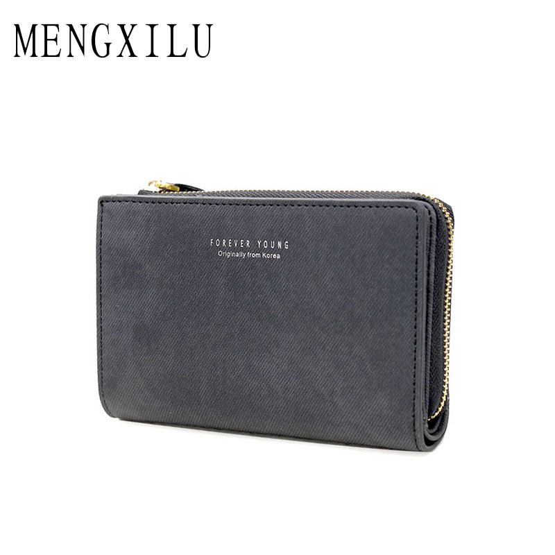 MENGXILU Brand Leather Wallet Female Coin Purse Women Wallets Zipper Clamp For Money Clutch small Walet Women Card Holder Ladies
