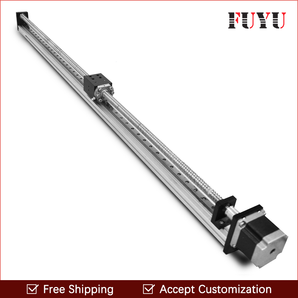 Free Shipping Cnc 800mm stroke ball screw cnc linear guide slide actuator rail kit motorized motor for wood working machine free shipping 900mm travel aluminium motorized linear slide for cnc machine