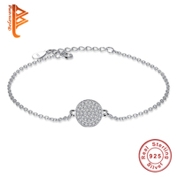 BELAWANG 2017 New Arrival Real 925 Sterling Silver Round Link Chain Bracelet Cubic Zirconia For Women