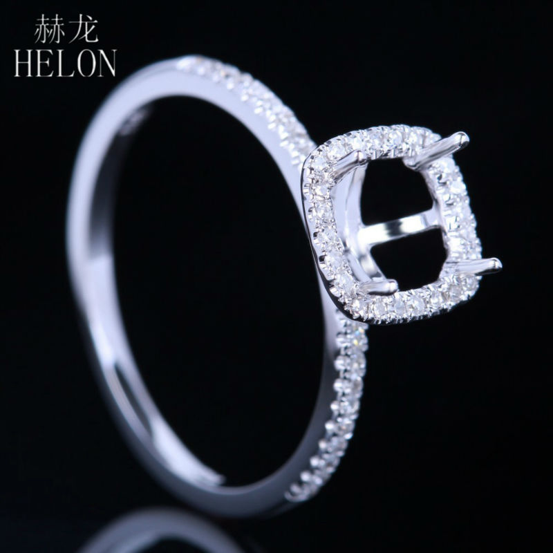 HELON Solid 10K White Gold 6x6mm Cushion Cut Semi Mount Pave Natural Diamonds Engagement Wedding Refined Women Fine Jewelry Ring helon pear cut 11x8mm solid 10k white gold pave natural diamonds semi mount wedding engagement elegant women s jewelry fine ring
