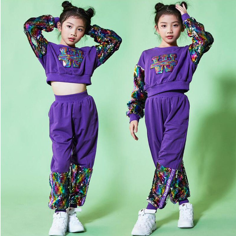 Filles paillettes Jazz moderne danse Costumes vêtements Costumes enfants Hip Hop danse porter Costumes ensemble Top + pantalon tenues