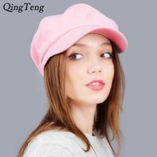 Замшевая Женская кепка Newsboy, модная восьмиугольная кепка художника, осенне-зимняя теплая Кепка Newsboy, одноцветная Милая Повседневная Кепка
