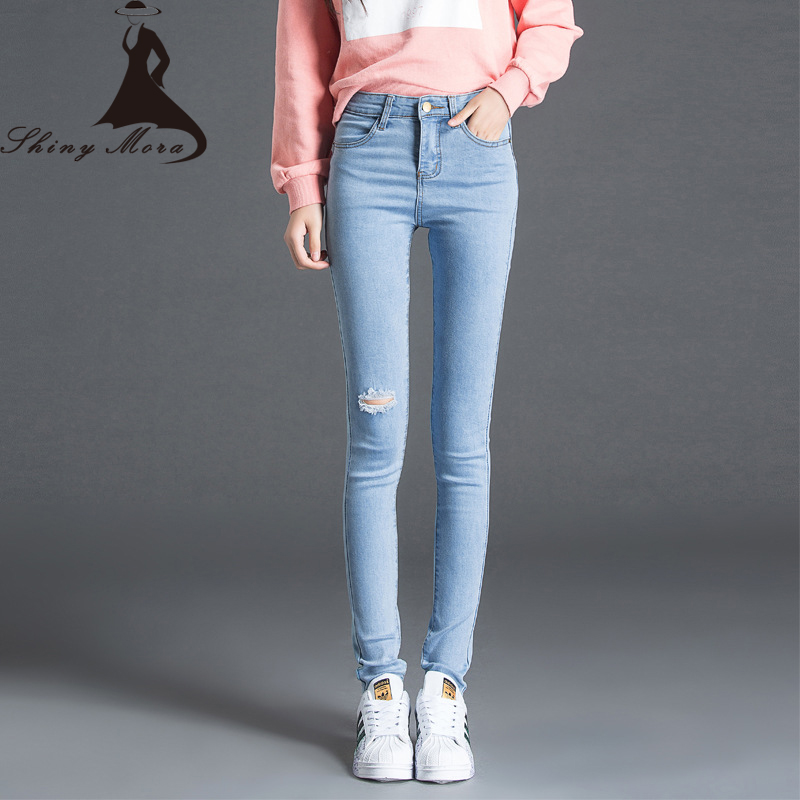 Europe Style 2017 New Ripped Jeans Women Black Blue High Strench Pencil Skinny Jeans Pants Ladies Hole trousers female pantalon 2017 new style europe