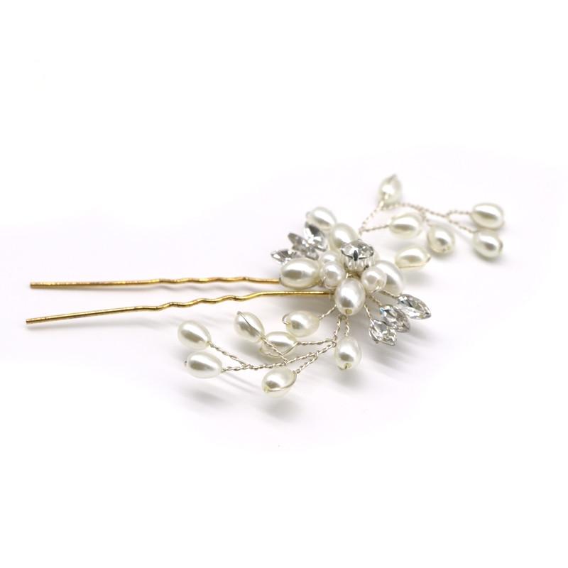 1Pcs Crystal Pearl Hairpins Qadın Xanım Saç Qıvrımları Saç - Geyim aksesuarları - Fotoqrafiya 5