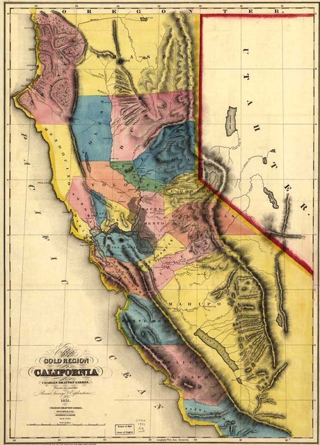 Free Ship Vintage Usa California Map Oil Painting Print On Canvas