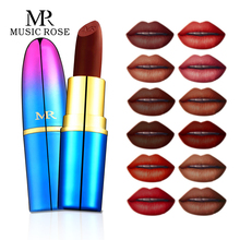 MUSIC ROSE 24Color Matte Bullets Lipstick Nude Color Lip Long-Lasting Moisturizing New Makeup Korean Fashion Red