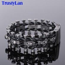Trustylan Retro Zwart Rvs Skull Heren Armband Voor Mannen Punk Rock Ketting Lederen Armbanden Hip Hop Armband sieraden