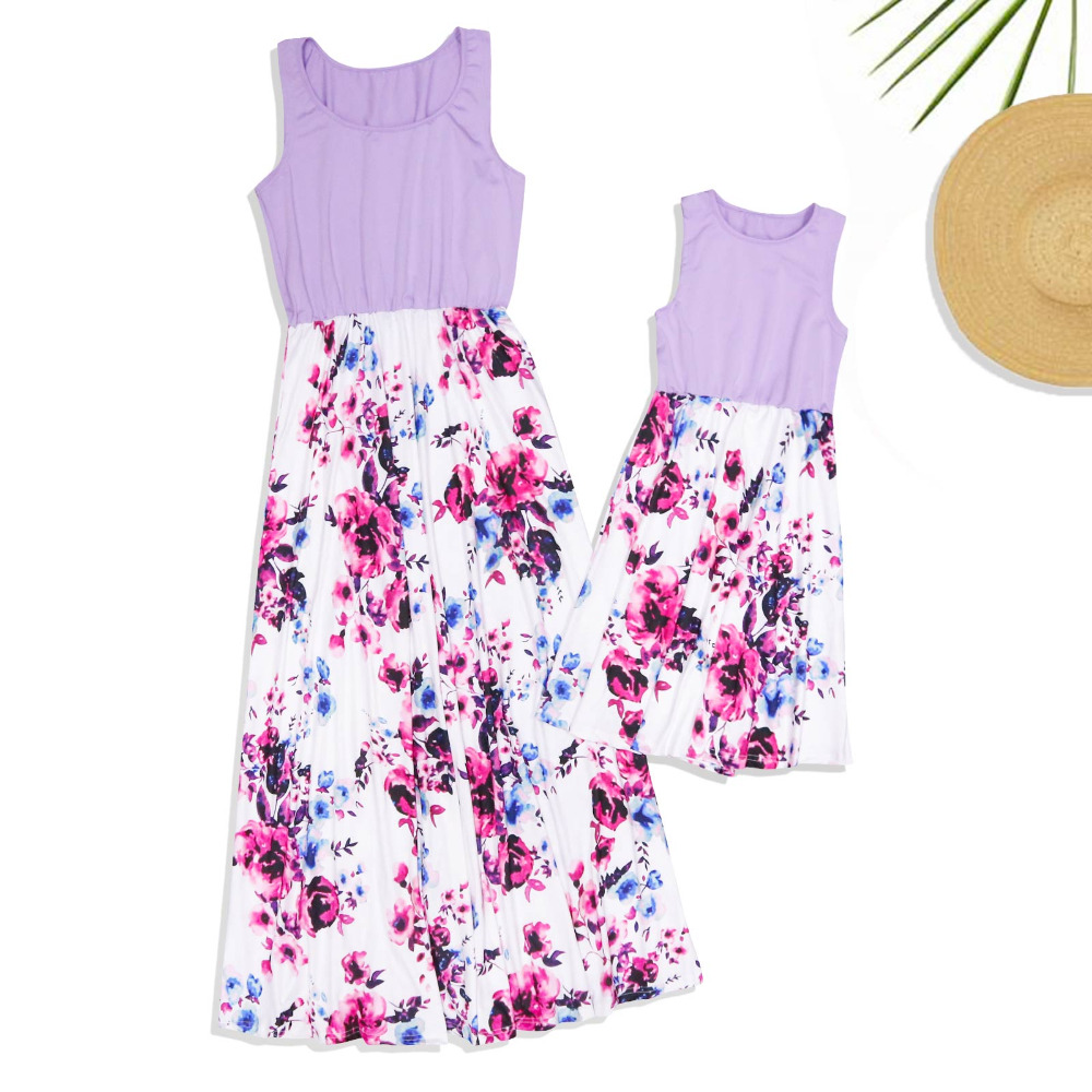 HTB1b0VuvYSYBuNjSspiq6xNzpXak - NASHAKAITE Mother daughter dresses Floral Printed Long Dress Mommy and me clothes Family matching clothes Mom and daughter dress