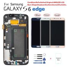Para Samsung S6 borde G925F G9250 Pantalla de reemplazo de la pantalla LCD para Samsung G925FD G925T G925 pantalla quemar en la sombra.