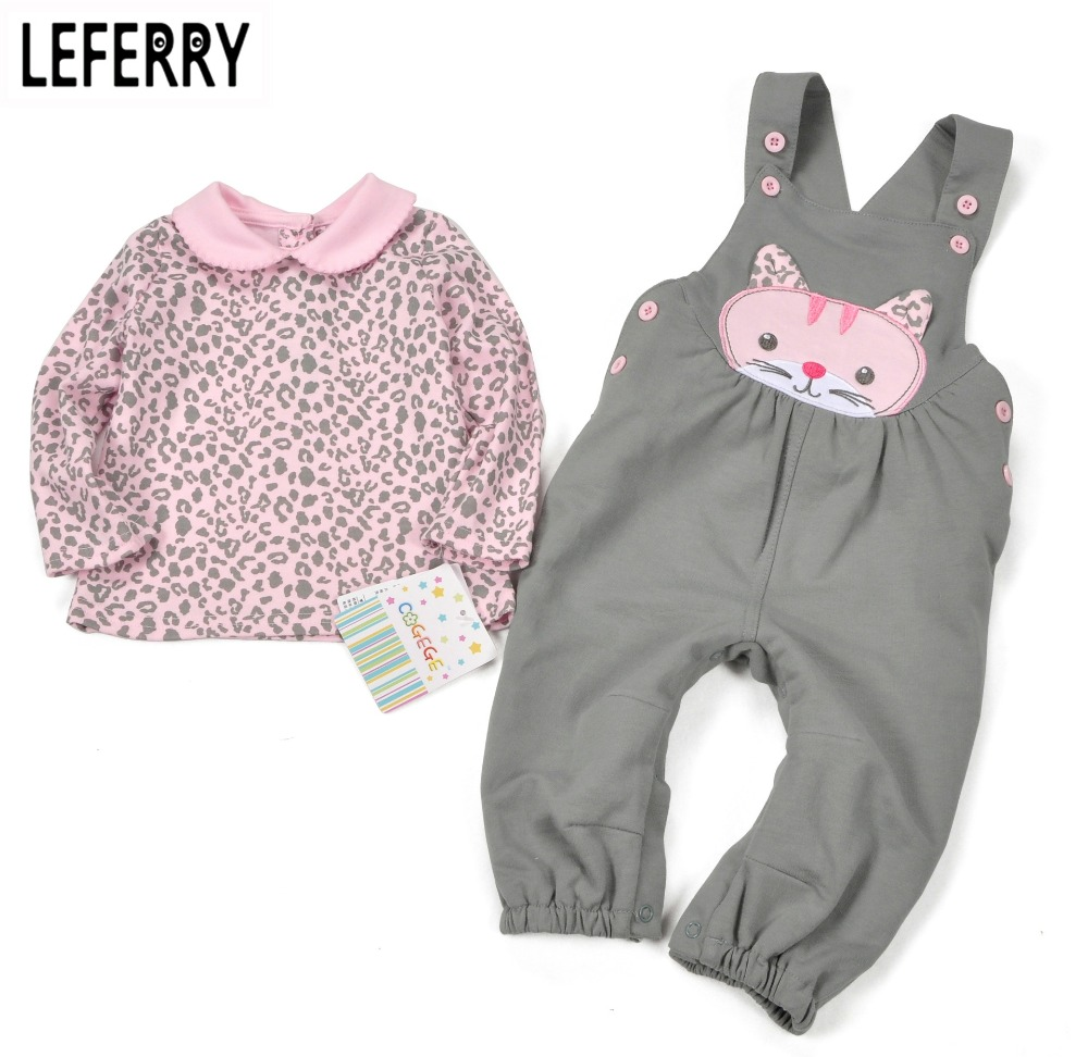 Baby Girl Clothes Sets Baby Girl Clothing Infant Newborn Baby Kleding Kids Clothes 2016 New Autumn T shirt + Overalls Cotton new cotton toddler girls clothing sets kids clothes summer cartoon baby girl t shirt overalls suit costume with suspender shorts