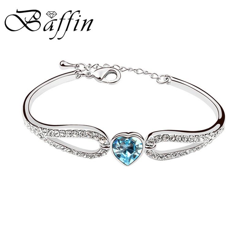 eb1d10d84d9ce Baffin romántico en forma de corazón pulseras Brazaletes cristales de  Swarovski mujer manos joyas moda color plata pulseras 2018