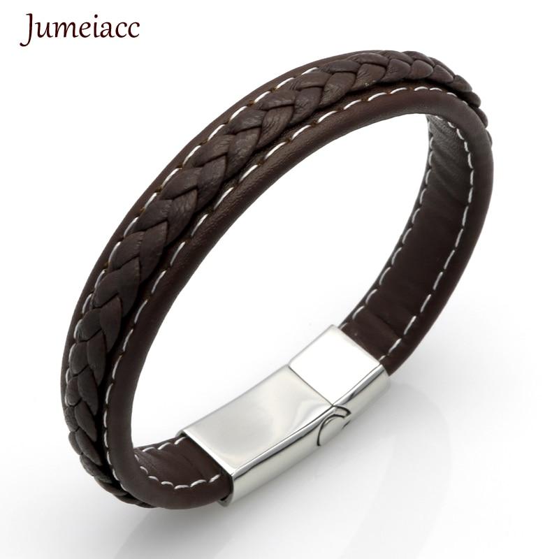 Jumeiacc 2017 Vintage Leather Bracelets Charm Menbracelets & Bangles Steampunk Fashion Retro Bracelets For Men Part Gifts F132