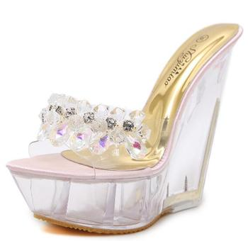 Women Shoes Diamond High-heeled 14cm Sandals Slippers Crystal Slide Waterproof Non Slip Bottom Thick Summer Female Sexy Sandals 2
