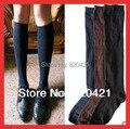 10 UNIDS = 5 pairs Classic color sólido blanco azul hasta la rodilla calentadores de la pierna de halloween calcetines hasta la rodilla de algodón uniforme escolar calcetines 39, 40