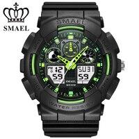 Мужские спортивные часы SMAEL  цифровые часы с двойным хронографом  водонепроницаемые наручные часы с отображением недели  Relogio Masculino 1027