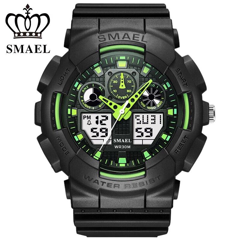 SMAEL Hommes Sport Montres Numérique Double Temps Chronographe Montre Horloge Watwrproof Semaine Affichage Montres Relogio Masculino 1027