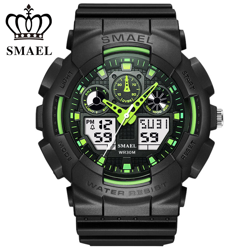 SMAEL Men Sports Watches Digital Double Time Chronograph Watch Clock Watwrproof Week Display Wristwatches Relogio Masculino 1027