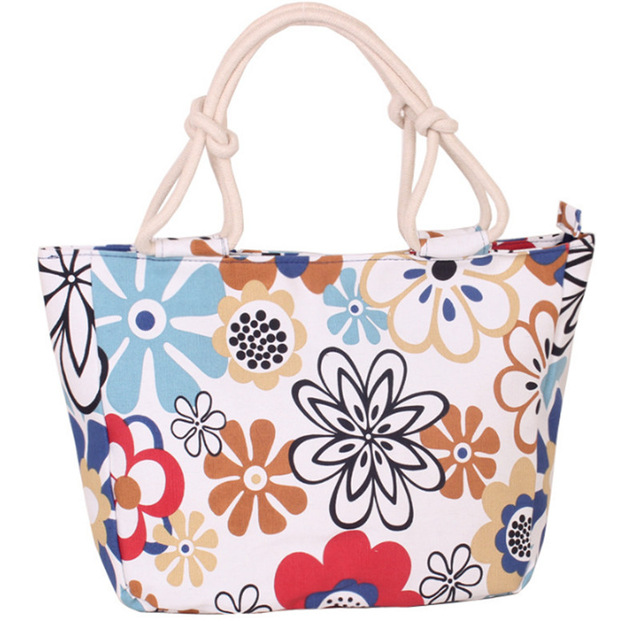 2019 Fashion Folding Women Big Size Handbag Tote Ladies Casual Flower Printing Canvas Graffiti Shoulder Bag Beach Bolsa Feminina 5