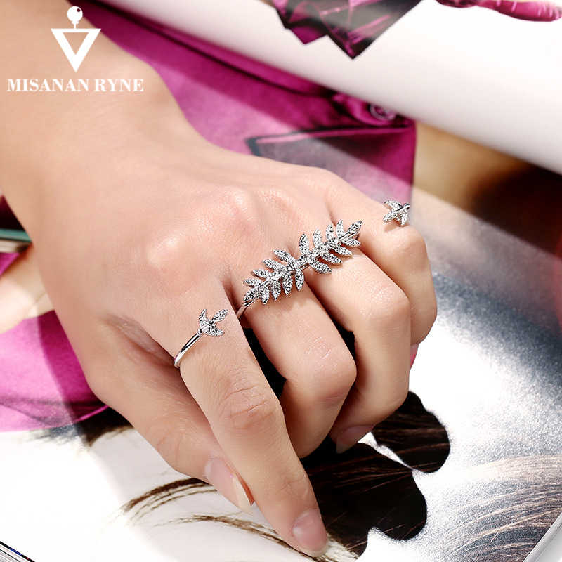 MISANANRYNE Personality Full Rhinestone Jewelry Unique Design Leaves Ring For Women Double Circle Opening Finger Ring AY