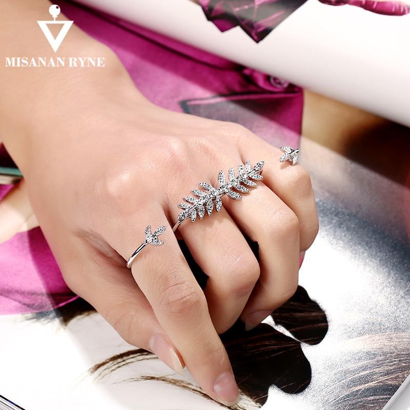 MISANANRYNE индивидуальность полный горный хрусталь ювелирные изделия Уникальный Дизайн Листья кольцо для женщин двойной круг Открытое кольцо для пальца AY