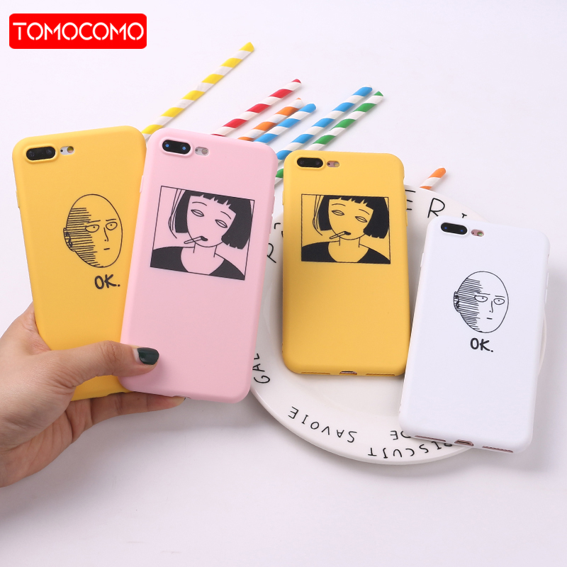For 7 7Plus ANIME One Punch Man Girl TPU Silicone Frosted Matte Case Fundas Coque for iPhone 6 6S 5 5S SE 8 Plus X Soft Cover