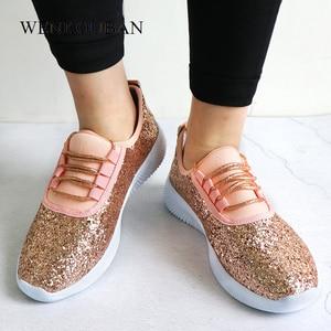 Image 3 - Sapatilhas femininas bling sapatos das senhoras verão brilho tainers mulheres sapatilhas brancas sparkly sapatos casuais cesta femme zapatos mujer