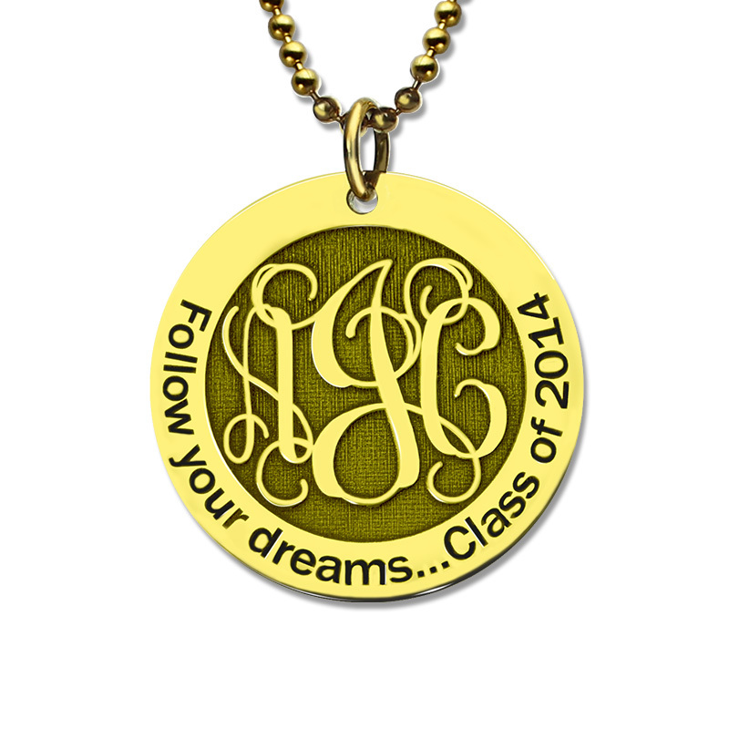 AILIN Gold Color Monogram Disc Necklace Personalized Engraved Initial Disc Pendant Follow Your Heart Name Necklace Faith Jewelry ailin gold color monogram disc necklace personalized engraved initial disc pendant follow your heart name necklace faith jewelry