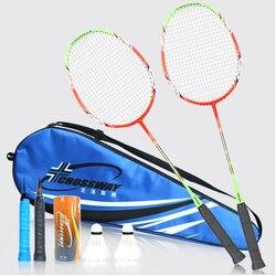 Kreuzung Professionelle Badminton Schläger Licht Gewicht Carbon Badminton Schläger raquette de badminton 1 Paar mit Tasche
