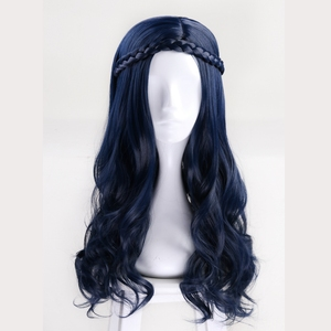 Image 4 - 60 センチ子孫 2 Evie ブルーロング波状のかつら衣装女性人工毛パーティのロールプレイかつら + かつらキャップ