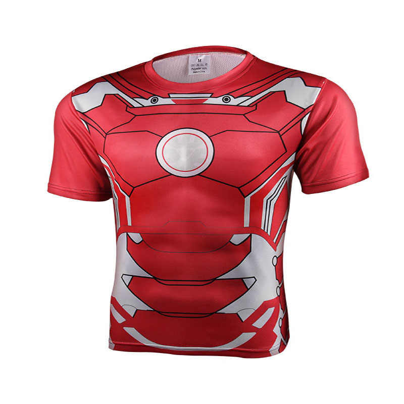 2017 hommes manches courtes 3 d T-shirt haute qualité Spiderman Superman Captain America Batman/Iron man/The hulk collants t shirt hommes
