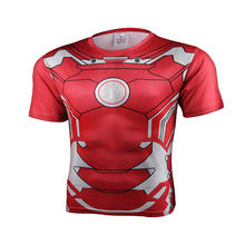 2017 hommes manches courtes 3 d T-shirt haute qualité Spiderman Superman Captain America Batman/Iron man/The hulk collants t shirt hommes(China)