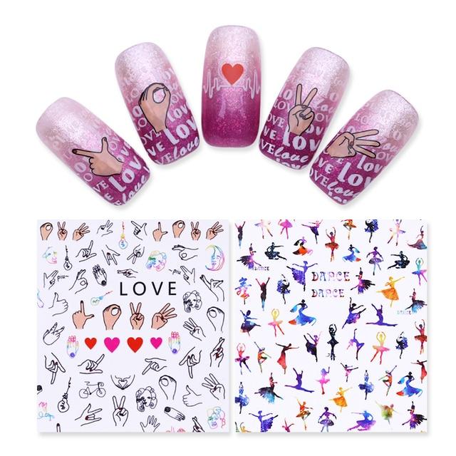 1 Sheet Flower Rabbit Love Ballet 3D Nail Sticker Manicure Nail Art ...