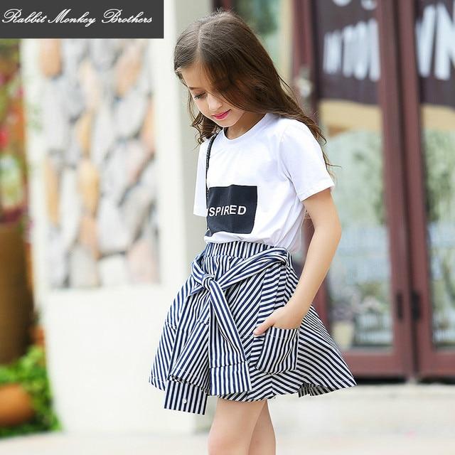 bd9b7c491 Girls summer skirt suit Cotton T shirt casual Tee striped skirt set ...