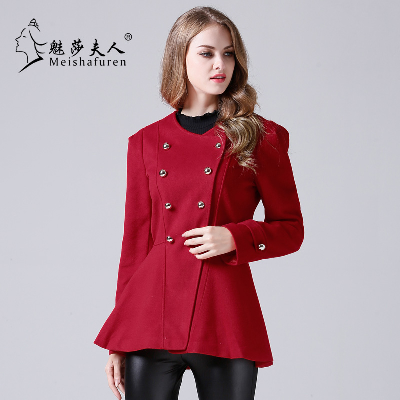 Donna 2018 Spring and autumn all-match red Woman's Overcoat fashion Double-breasted round neck Woolen coat Small jacket C1005
