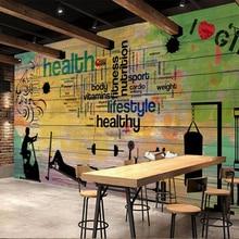 Mural Graffiti Wallpaper Custom-Made Running Decorative Parede Beibehang Gym Club Sport