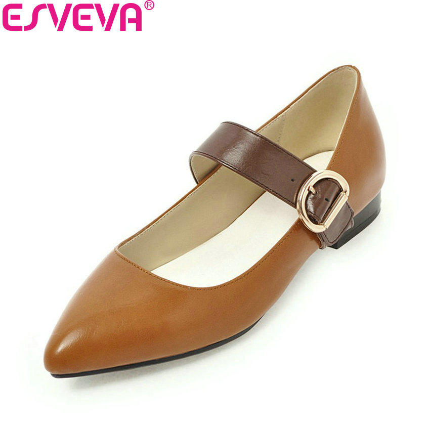 ESVEVA 2018 Women Pumps Buckle Shoes Spring and Autumn Square Heels Pointed Toe Elegant Low Heels Pumps Women Shoes Size 34-43 esveva 2017 spring autumn british style real leather women pumps buckel square toe women shoes square low heel pumps size 34 39