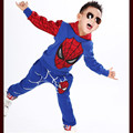2017 new fashion cartoon spiderman kids clothing sets children cotton pants of autumn and winter tracksuits sport suit 2-10 year
