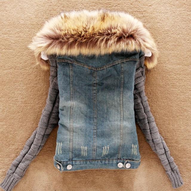 Plus Size S 4xl Denim Jacket Women Big Fur Collar Spring Autumn Jean