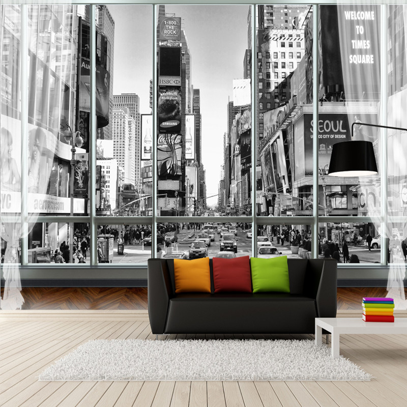 Custom Stereoscopic Wallpaper for Walls 3D Black White Wallpaper City New York Street View 3D Wall Murals for Bedroom Wallpapers custom 3d murals new york at night with reflection in water city wallpaper living room sofa tv wall bedroom bar ktv 3d murals