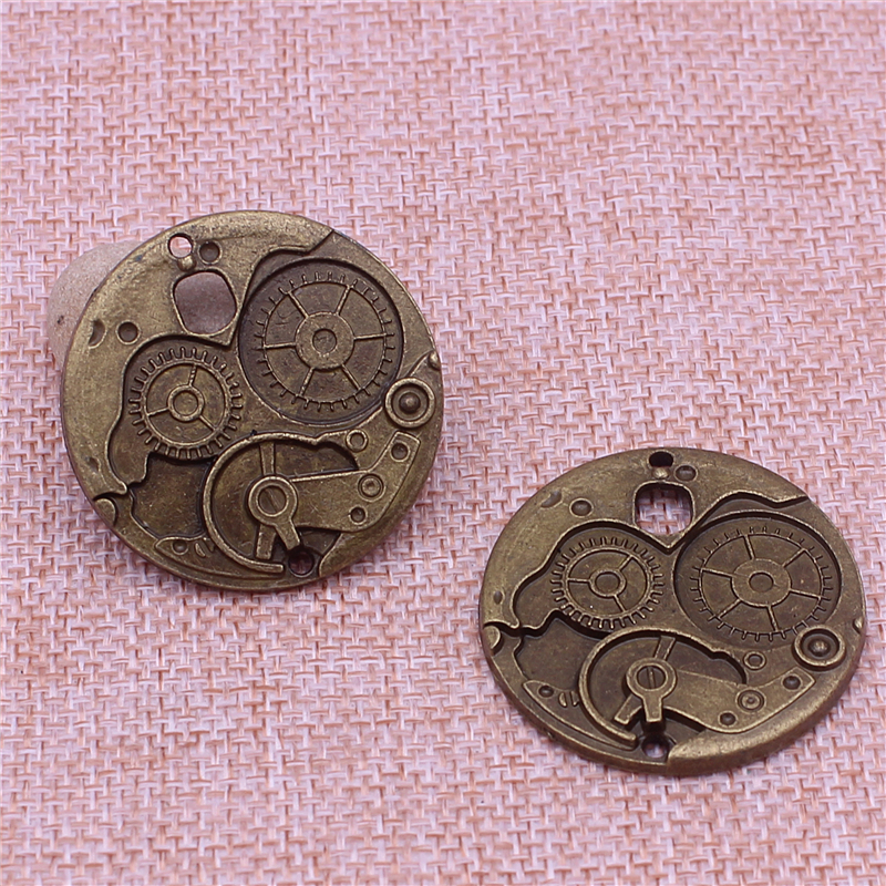 10Pcs/lot 37mm Vintage Metal Big Steampunk Watches Clock Gears Charms Two Color Zinc Alloy Watches Clock Charm T0604