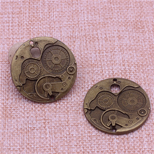 PULCHRITUDE 10Pcs/lot 37mm Vintage Metal Big Steampunk Watches Clock Gears Charms Two Color Zinc Alloy Watches Clock Charm T0604
