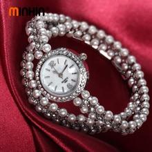 MINHIN Luxury Pearl Bracelet Watches For Women Gold Silver Quartz Wristwatch Fas