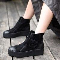 Artmu/Модные женские ботинки ручной работы на плоской платформе, короткие Ботинки Martin с круглым носком, женская повседневная обувь, Bottines Femme