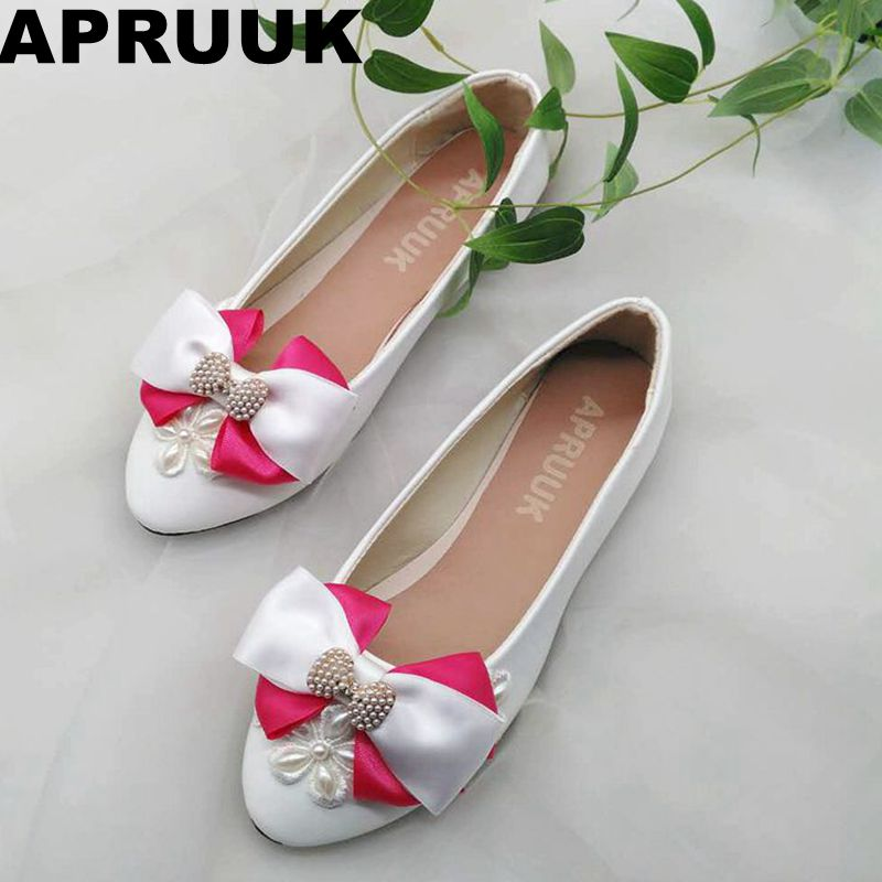 Wedding flats shoes woman round toes slip on female lady pink bow flat heel wedding shoes ribbon riband satin bowtie shoes round design ribbon cute bow cartoon laser cut pattern lace wedding invitation kit blank paper printing invitations card set