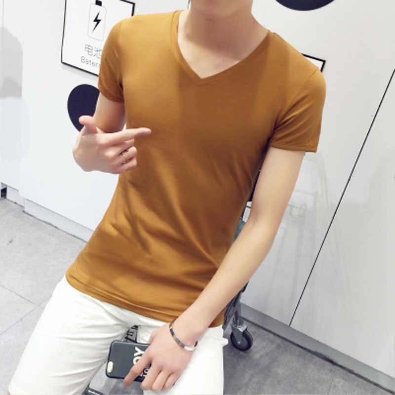 free shipping wholesale 2016 men solid color tshirt homme V-neck short sleeve t-shirt slim fit Korean men summer casual Shirt