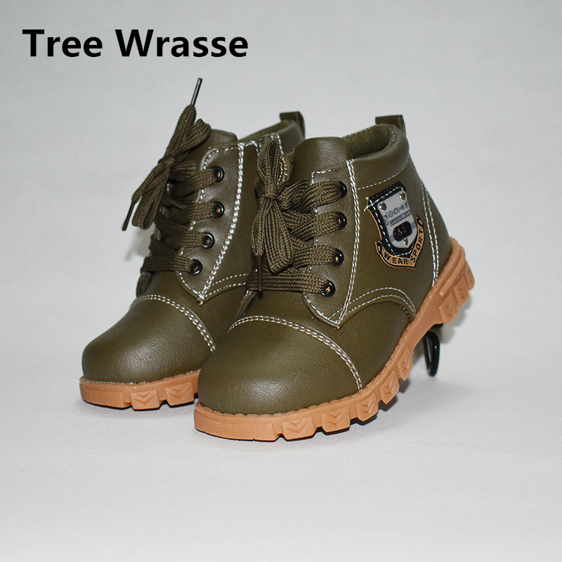 Children Martin Boots Autumn Boys Girls Casual Leather Shoes Kids Sneakers Low-heeled Child Single Boots For green Yellow brown